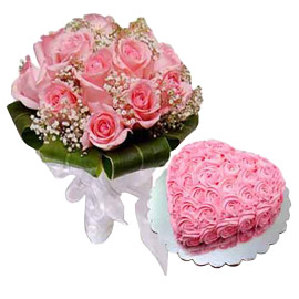 24 hrs online rose heart cake n 10 pink roses bunch in kanpur