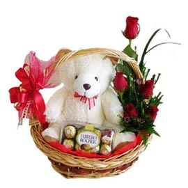 24 hrs online 6 red roses, cute teddy n ferrero rocher chocolates in basket in kanpur