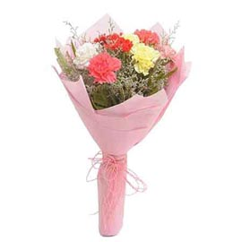 send 10 mix carnations designer bunch same day delivery in kanpur