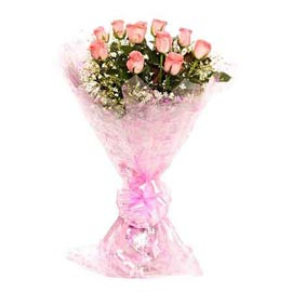 buy 12 pink roses bunch same day delivery in Kanpur