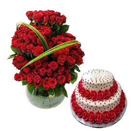 Gift online vanilla party cake n 100 red roses in glass vase in kanpur
