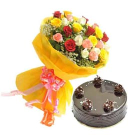 Send online half kg chocolate cake n 25 mix roses bunch in kanpur