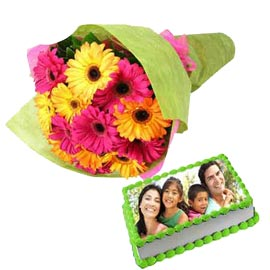 Buy online 1 kg photo cake n mix flowers bunch in kanpur