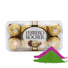 24 hrs online 16 pcs ferrero rocher box with gulal delivery in kanpur