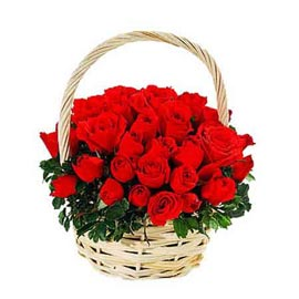send 50 red roses cane basket express delivery in kanpur