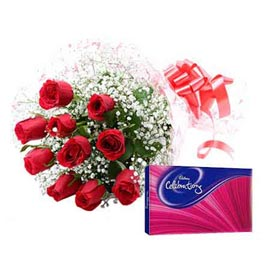 Same day online red roses bunch n chocolates celebration pack in kanpur