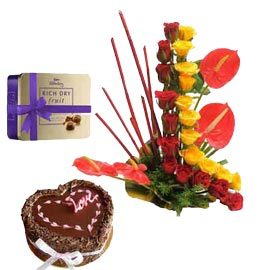 Urgent online mix Flowers in basket chocolates n truffle cake in kanpur