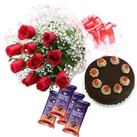 Same day online red roses, cadbury chocolates n cake in kanpur