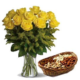 24 hrs yellow roses n assorted dry fruit cane basket in kanpur
