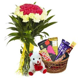 Send online mix carnations bunch, cute teddy n chocolaes basket in kanpur