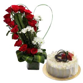 Gift online white forest cake n mix flowers in glass vase in kanpur