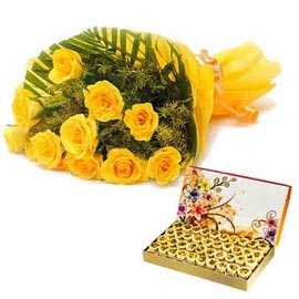 Midnight online yellow roses bunch n 1 kg honey dew sweets in kanpur