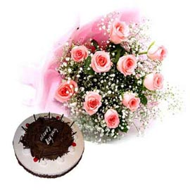 Send online black forest cake n pink roses bunch in kanpur
