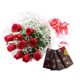 Midnight online red roses bunch n Bourneville chocolates in kanpur