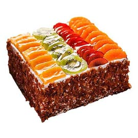 Send online fresh fruit square cake delivery in kanpur