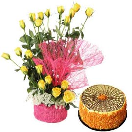 Buy online Butter scotch n 20 yellow roses in basket in kanpur