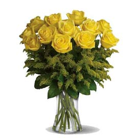send 12 yellow roses glass vase midnight delivery in Kanpur