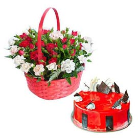 24 hrs online half kg strawberry cake n mix flower basket in kanpur