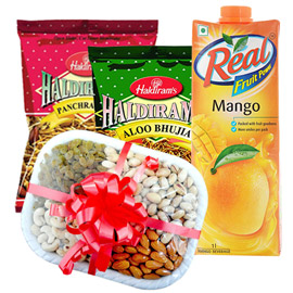 same day online anniversary gift namkin, juice & dry fruit in kanpur