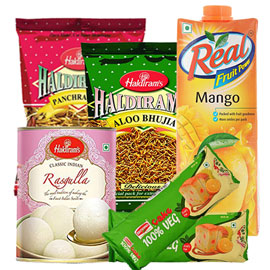same day online birthday gift namkin, juice, sweet & britania cake in kanpur