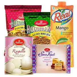 same day online mother day gift namkin, juice & sweet in kanpur
