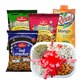 Same Day Online Birthday Gift Namkin Juice Dry Fruits In Kanpur
