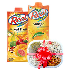 same day online 2pcs 1 ltr real juice & half kg assorted dry fruits in kanpur