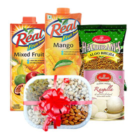 same day online 2pcs 1 ltr real juice, 400gms bhujia, 1kg rasgulla & half kg dry fruits in kanpur