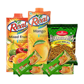 same day online 2pcs 1 ltr real juice, 400gms aloo bhujia & 2pcs britania cake in kanpur