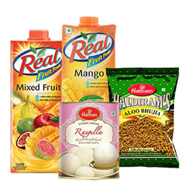 same day online 2pcs 1 ltr real juice, 400gms bhujia & 1kg rasgulla in kanpur