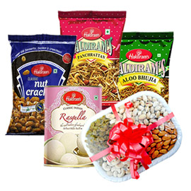 same day online women day gift namkin sweet & dry fruit in kanpur