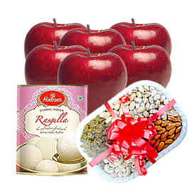 same day online parent day gift apple, sweet & dry fruits in kanpur