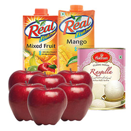 same day online for best mother gift apple, juice & sweet in kanpur