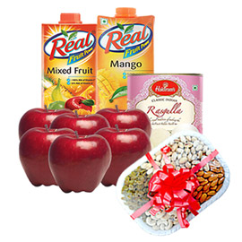 same day online women day gifts apple, juice, sweet & dry fruits in kanpur