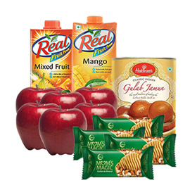 same day online mother day gift apple, juice, sweet & cookies dry fruits in kanpur