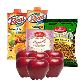 Same Day Online Father Gift Apple Juice Namkin Sweet In Kanpur