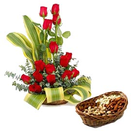 Same day online red roses basket n half kg assorted dry fruit basket in kanpur
