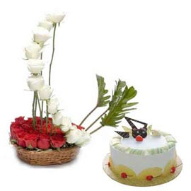 Buy online pineapple cake n mix roses basket in kanpur