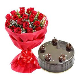Urgent Delivery 1 Kg Chocolate Cake N 20 Red Roses Paper Bunch In Kanpur