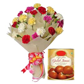 Send online gulab jamun n mix carnations bunch in kanpur