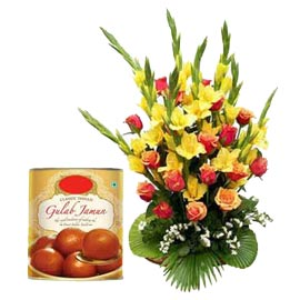 Same day online gulab Jamun pack n mix flowers basket in kanpur