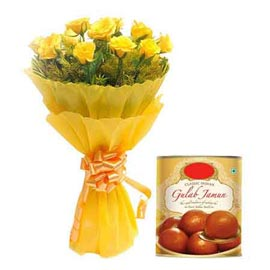 Midnight online 1 kg gulab jamun pack n yellow roses bunch in kanpur