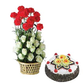 Send online half kg black forest cake n mix flower basket in kanpur