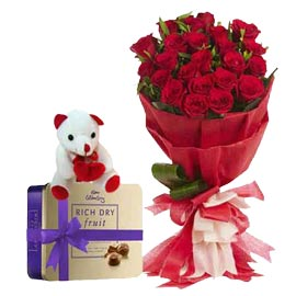 Urgent online Heart touching teddy flowers n chocolates in kanpur