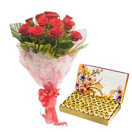 24 Hrs online Honey dew n red roses bunch in kanpur