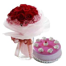 24 hrs online strawberry cake n mix flowers in glass vase in kanpur
