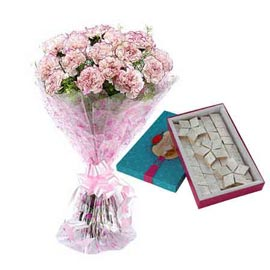 Buy online kaju katli sweets n mix carnations bunch in kanpur