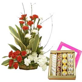 buy online kaju mix sweets n mix carnations basket in kanpur