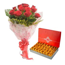 Same day online 1 kg karachi halwa n red roses bunch combo in kanpur