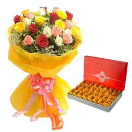 Send online Karanchi-halwa n mix roses delivery in kanpur